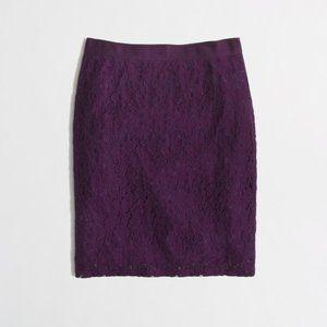 J.CREW The Pencil Skirt deep plum lace mini 10 L